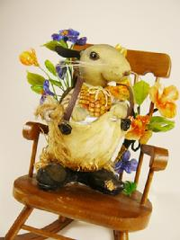 Mixed Medium, mouse, glass flowers