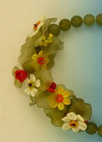 Glass Daisies, Lucite Leaves, Jade Beads