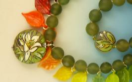 Glass leaves, Boro Focus Bead, Jade Beads